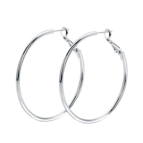 04fa58385 Rugewelry 925 Sterling Silver Hoop Earrings,18K White Gold Plated Polished  Rounded Hoop Earrings For