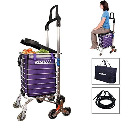 9bf3cc199d8c Kofull Grocery Laundry Utility Foldable Shopping Cart, Aluminum Alloy  3-Wheel Stair Climbing with Cover (Can sit) Body Weight 220 Ib Free Cup  Holder ...