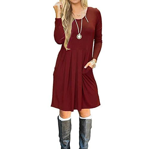 d96127fc1529 LILBETTER Women's Long Sleeve Pleated Loose Swing Casual Dress with Pockets  Knee Length