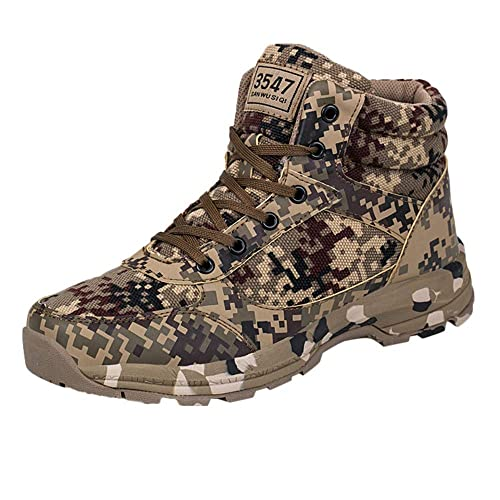52c8b74011bf0f Mens Outdoor Sneakers Shoes - Warm Wear Resistant Non-Slip Desert  Camouflage Military Boots for