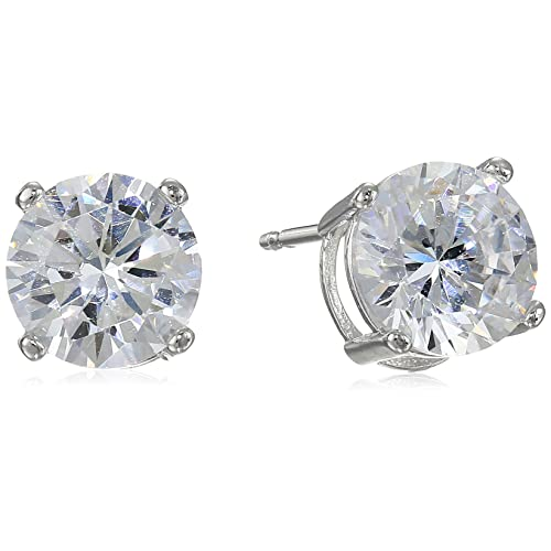 e85863cda Amazon Essentials Plated Sterling Silver Cubic Zirconia Stud Earrings (Round  & Princess)
