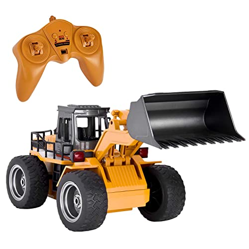 GotechoD Remote Control Construction Toy RC Truck, Alloy Shovel 2 4G RC  Vehicle Remote Control Truck Loader RC Bulldozer, 6 Channel 4WD Tractor RC