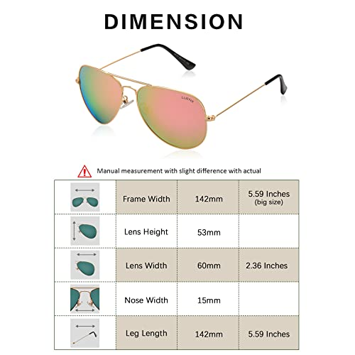 77e2527784 PrevNext. PrevNext. LUENX Aviator Sunglasses Womens Polarized Mirror with  Case - UV 400 Protection 60MM