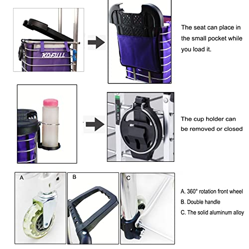 3dedeceb625c Buy Kofull Grocery Laundry Utility Foldable Shopping Cart, Aluminum ...