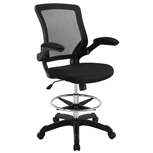 Groovy Modway Veer Drafting Chair In Black Reception Desk Chair Tall Office Chair For Adjustable Standing Desks Flip Up Arm Drafting Table Chair Interior Design Ideas Clesiryabchikinfo