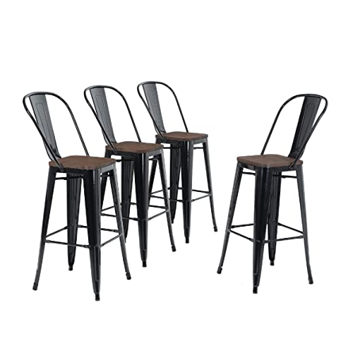 Stupendous Buy Alpha Home 30 High Back Bar Stools With Wood Seat Gmtry Best Dining Table And Chair Ideas Images Gmtryco