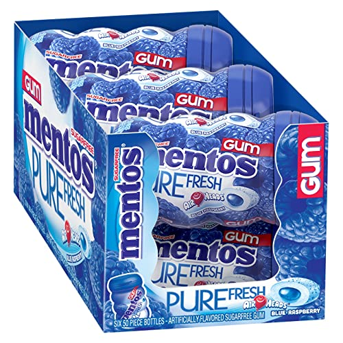Mentos Pure Fresh Sugar-Free Chewing Gum with Xylitol, AirHeads Blue  Raspberry, Halloween Candy, Bulk, 50 Piece Bottle (Pack of 6)