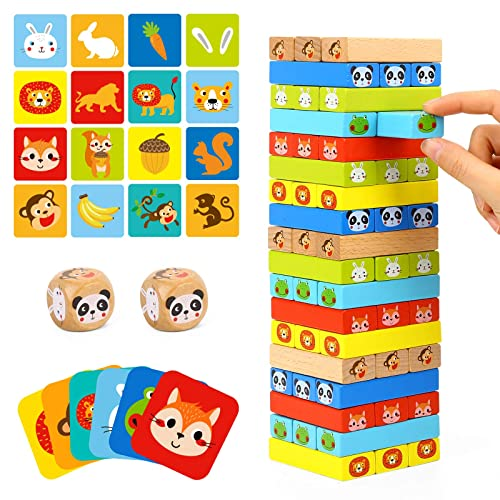 80 Pieces TOOKYLAND Colored Wooden Blocks Stacking Board Games Tumble Tower Games with Animal Pictures for Kids Boys Girls
