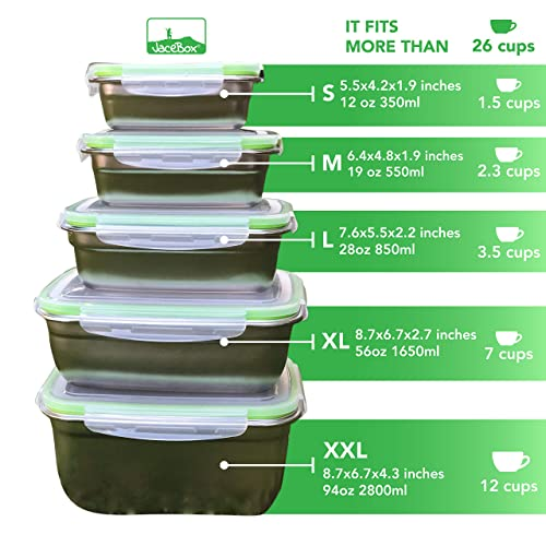 9531c9061f49 Buy JaceBox Food Storage Containers - Stainless Steel 304 BPA FREE ...